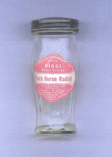"An empty bottle with Rose Biggi's ""Pure Horse Radish"" label"