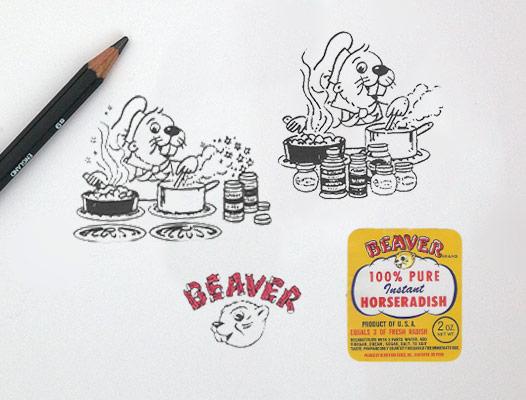 Original Beaver Brand logo sketches