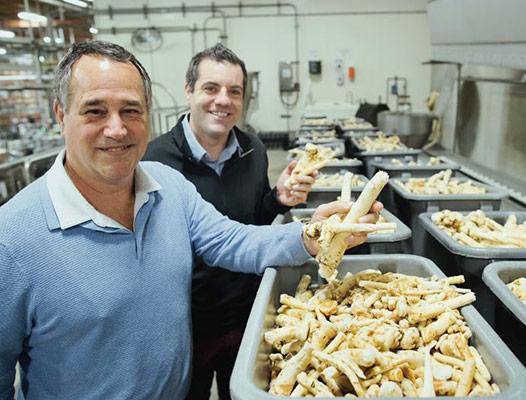 Domonic and Jeffrey Biggi holding horseradish roots