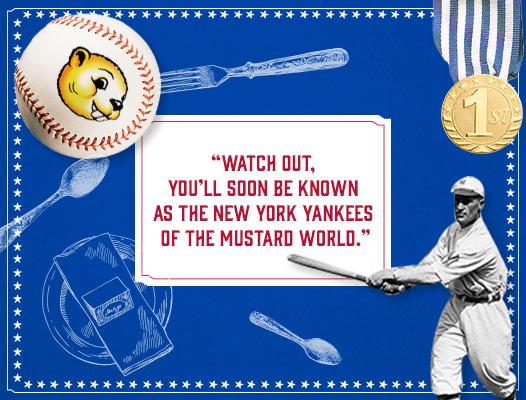 "Yankee baseball player hitting ""Beaver Brand"" baseball out of the park"