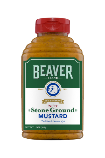 Beaver Brand Spicy Stone Ground Mustard front 12oz