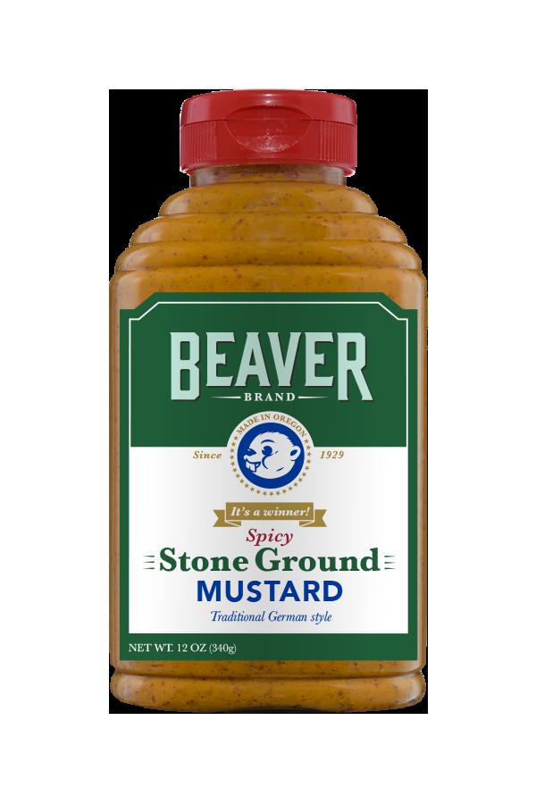 Beaver Brand Spicy Stone Ground Mustard front 12oz