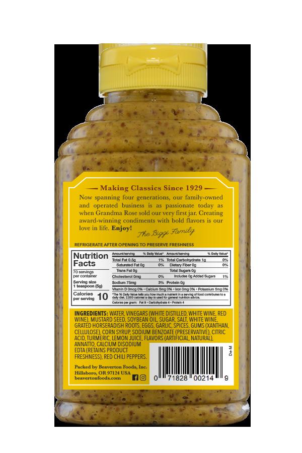 Beaver Brand Deli Mustard back 12.5oz