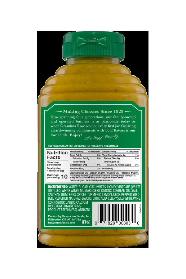 Beaver Brand Bread & Butter Pickle Mustard back 12.5oz
