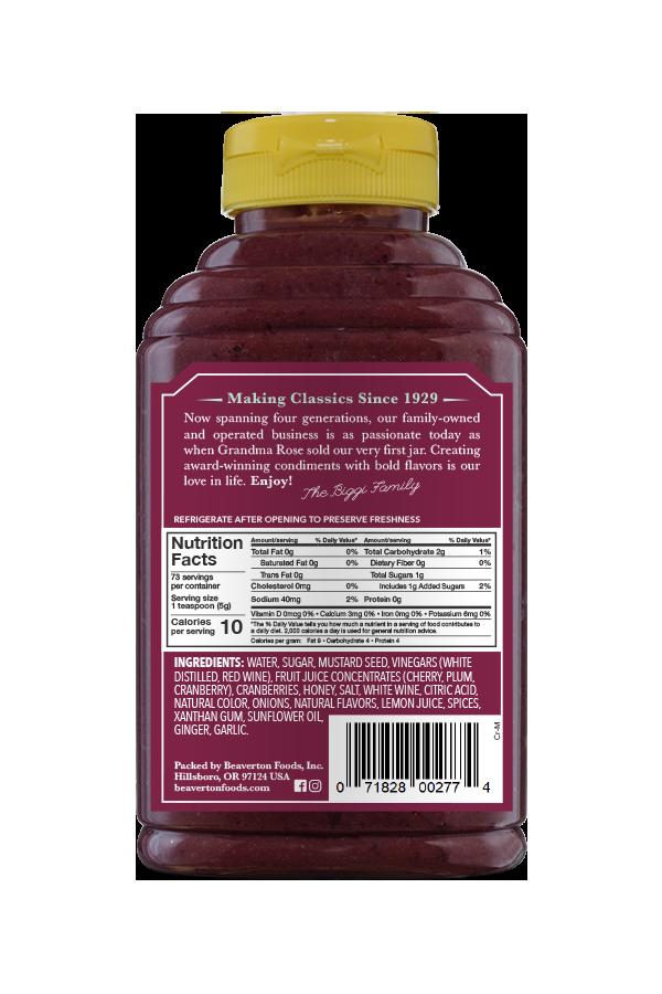 Beaver Brand Cranberry Mustard back 12 oz