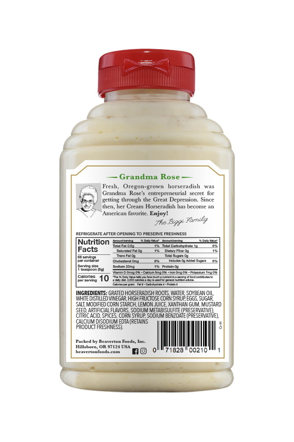 Beaver Brand Cream Horseradish back 12oz