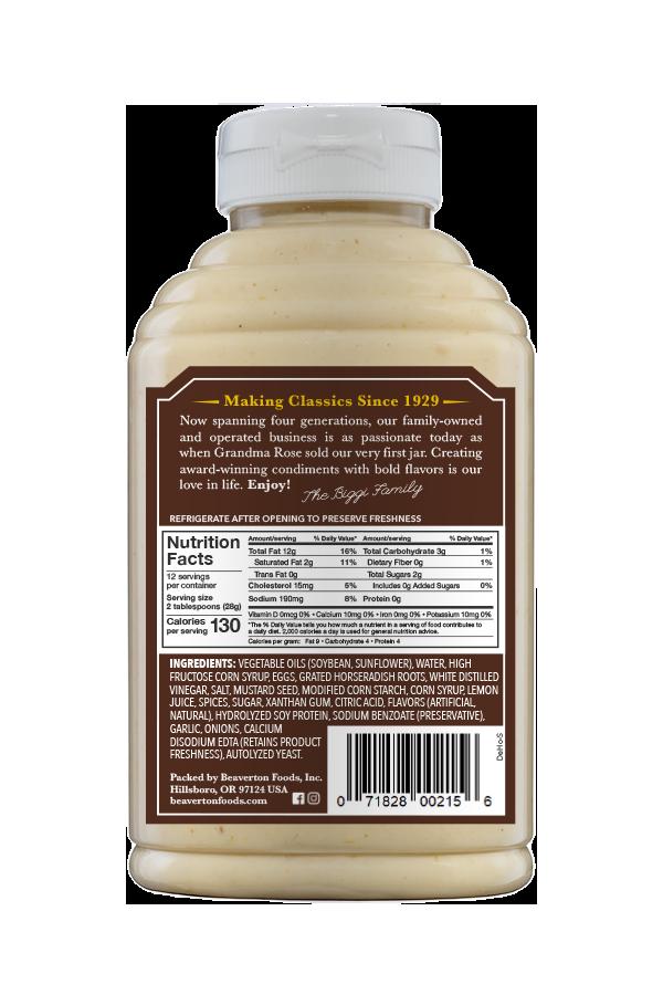 Beaver Brand Deli Horseradish Sauce back 12oz