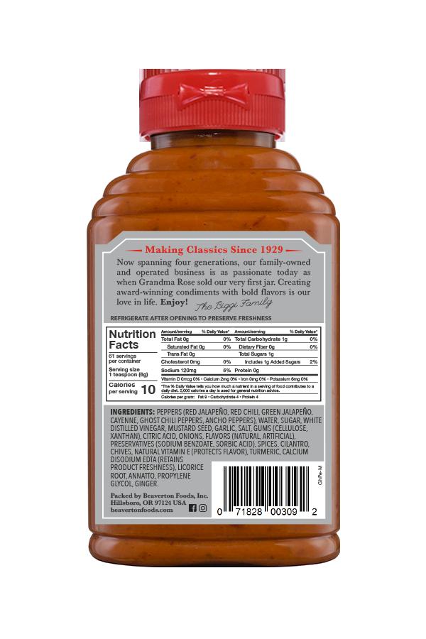 Beaver Brand Ghost Pepper Mustard back 13oz