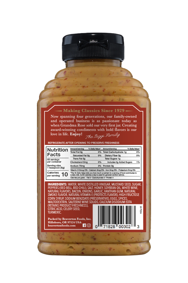 Beaver Brand Hickory Bacon Flavored Mustard back 12oz