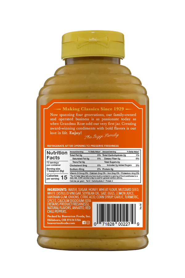 Beaver Brand Sweet Honey Mustard back 13oz