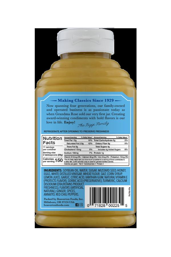 Beaver Brand Honey Mustard Mayonnaise back 12oz
