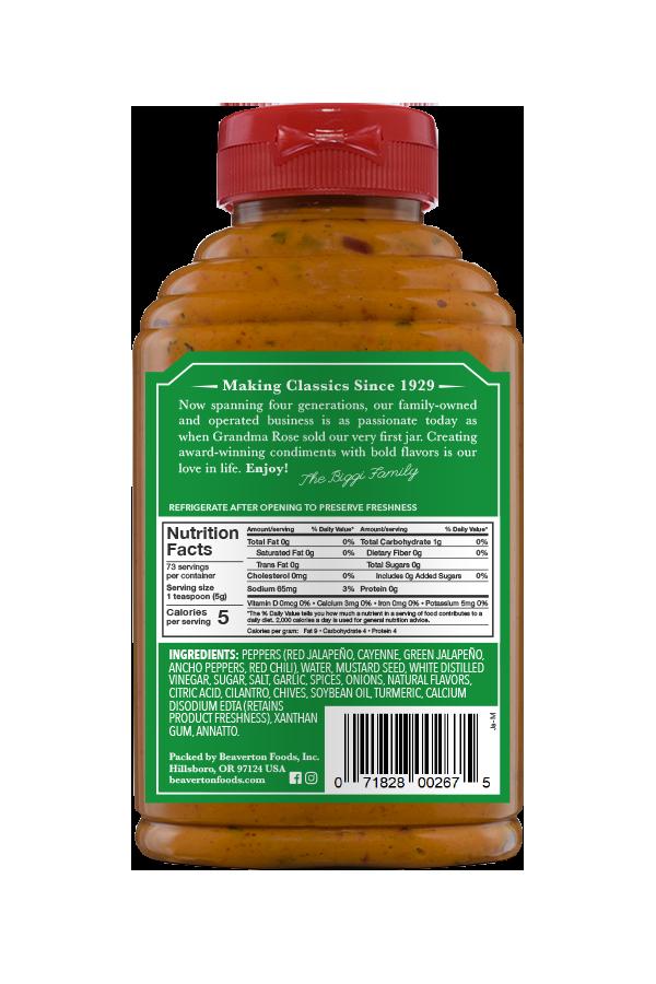 Beaver Brand Jalapeño Mustard back 13 oz
