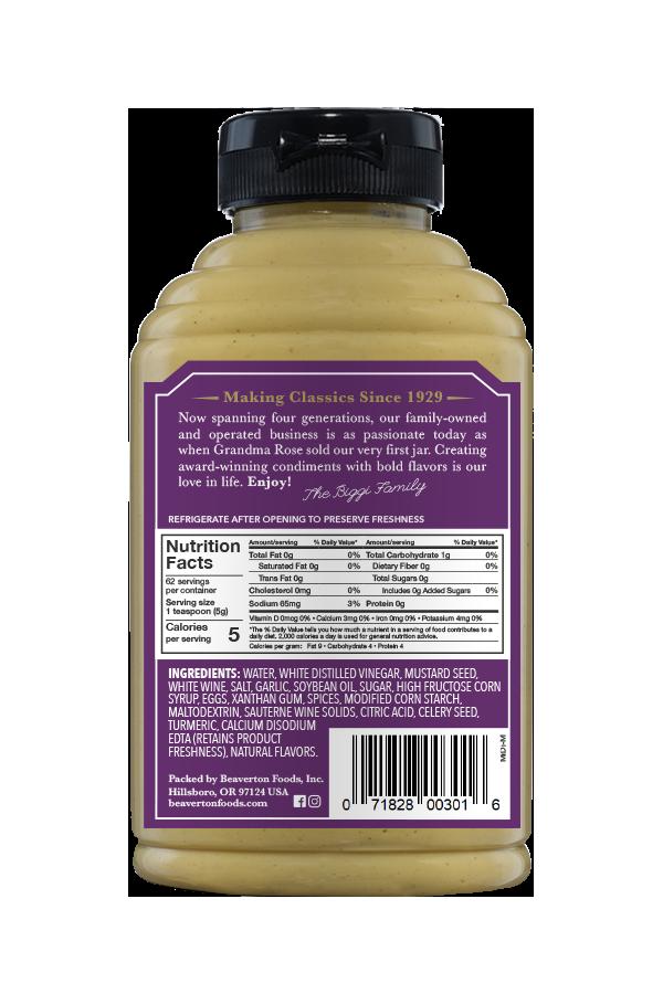 Beaver Brand Mild Dijon Mustard back 11oz
