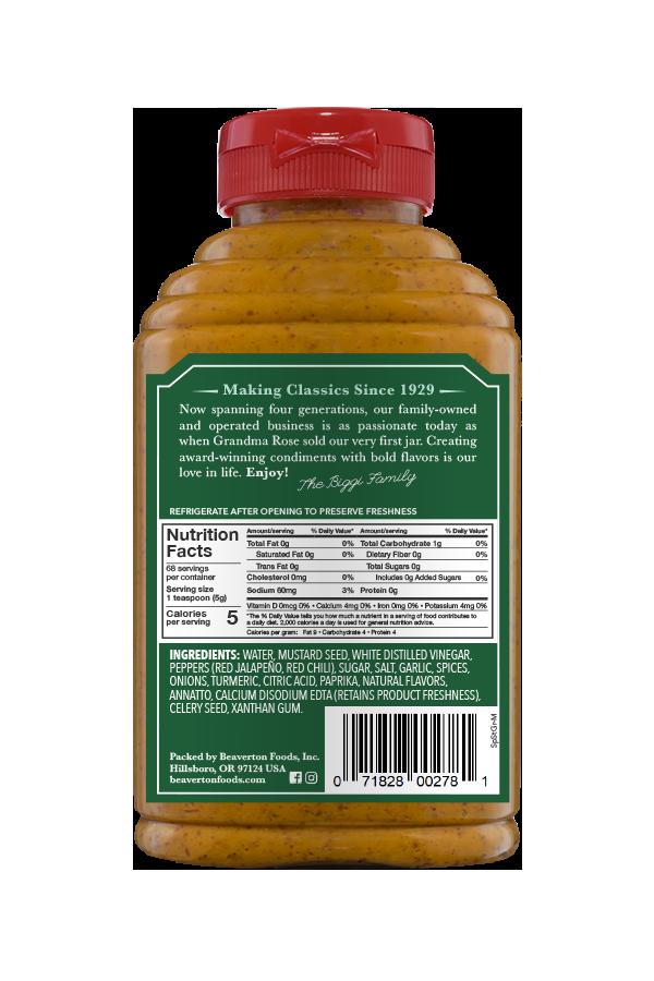 Beaver Brand Spicy Stone Ground Mustard back 12oz