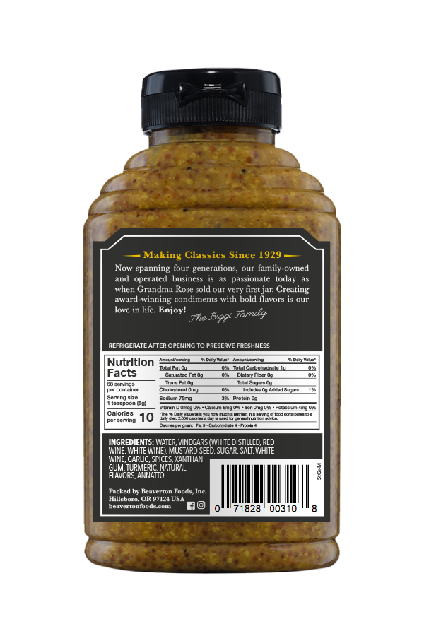 Beaver Brand Stone Ground Mustard back 12oz