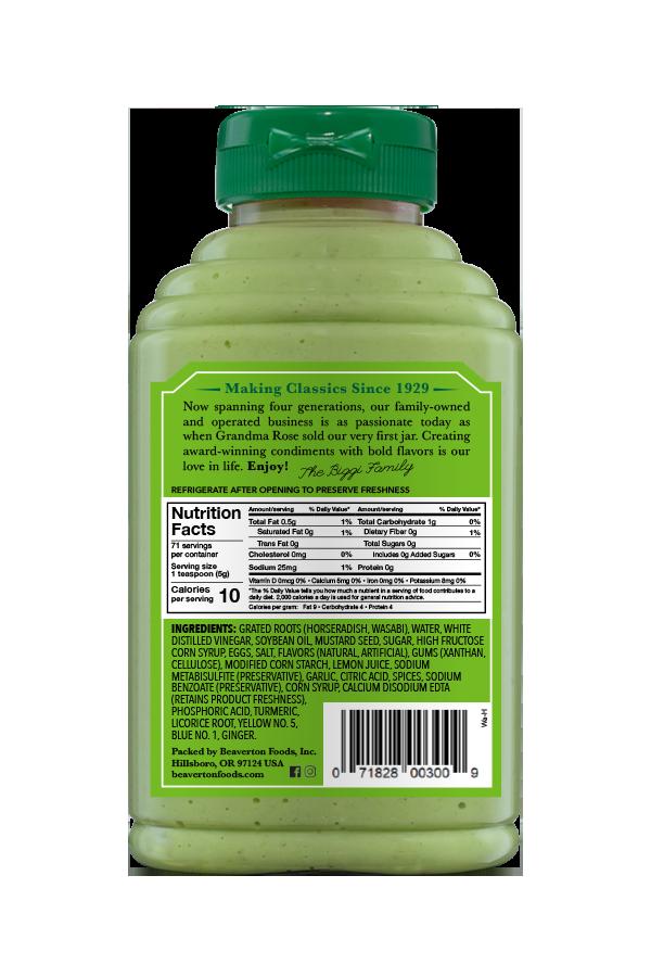 Beaver Brand Wasabi Horseradish back 12.5oz