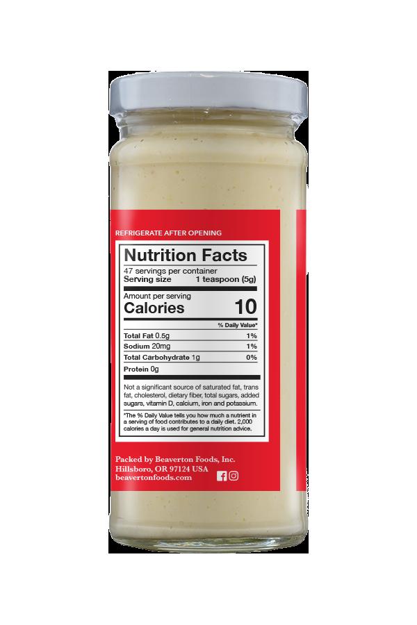 Beaver Brand Extra Hot Horseradish nutrition 8.5oz