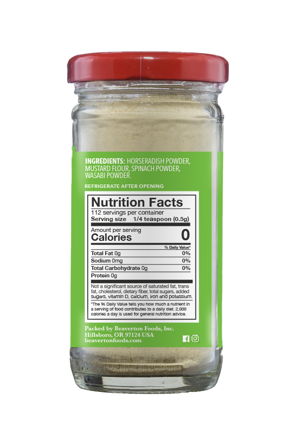 Beaver Brand Wasabi Powder nutrition 2oz