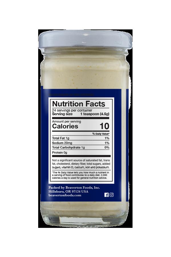 Beaver Whipped Horseradish nutrition 3.75oz