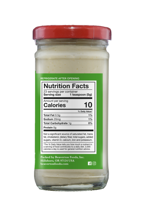 Beaver Brand Cream Horseradish nutrition 4oz