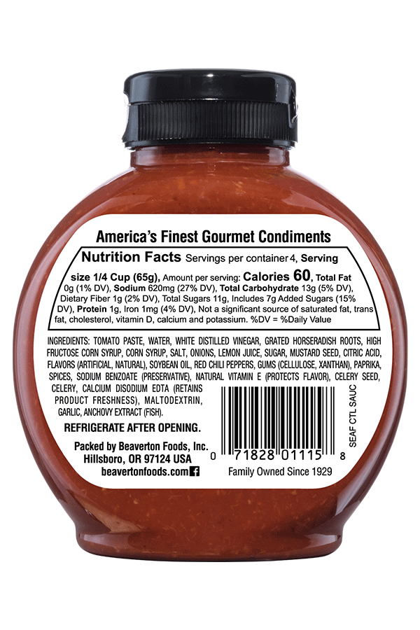Inglehoffer Seafood Cocktail Sauce back 10oz