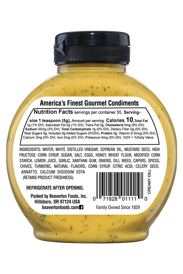 Inglehoffer Creamy Dill Mustard back 9.75oz