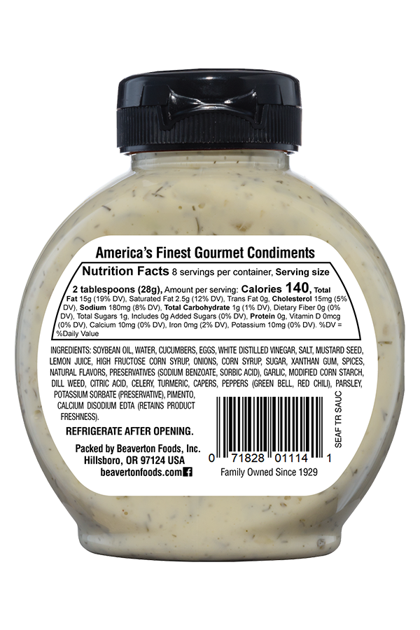 Inglehoffer Seafood Tartar Sauce back 8.25oz