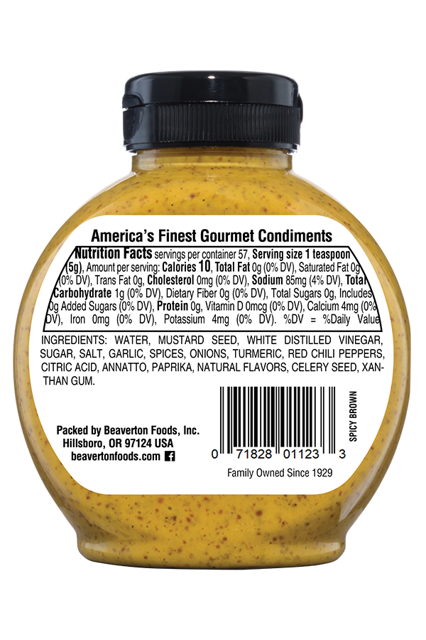Inglehoffer Spicy Brown Mustard back 10oz