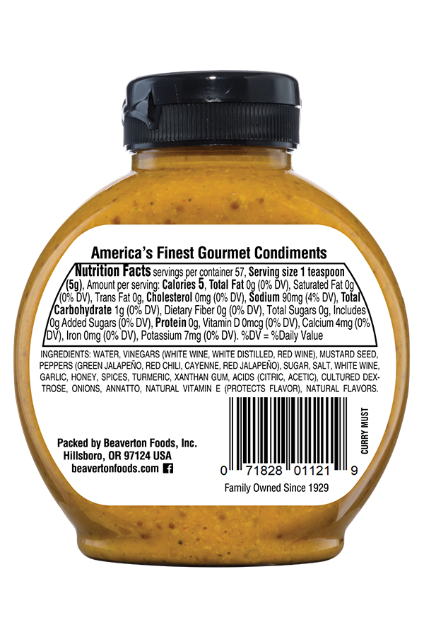 Inglehoffer Spicy Curry Mustard back 10oz