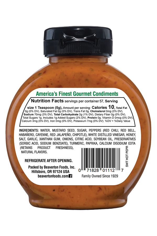 Inglehoffer Sweet Hot Pepper Mustard back 10oz