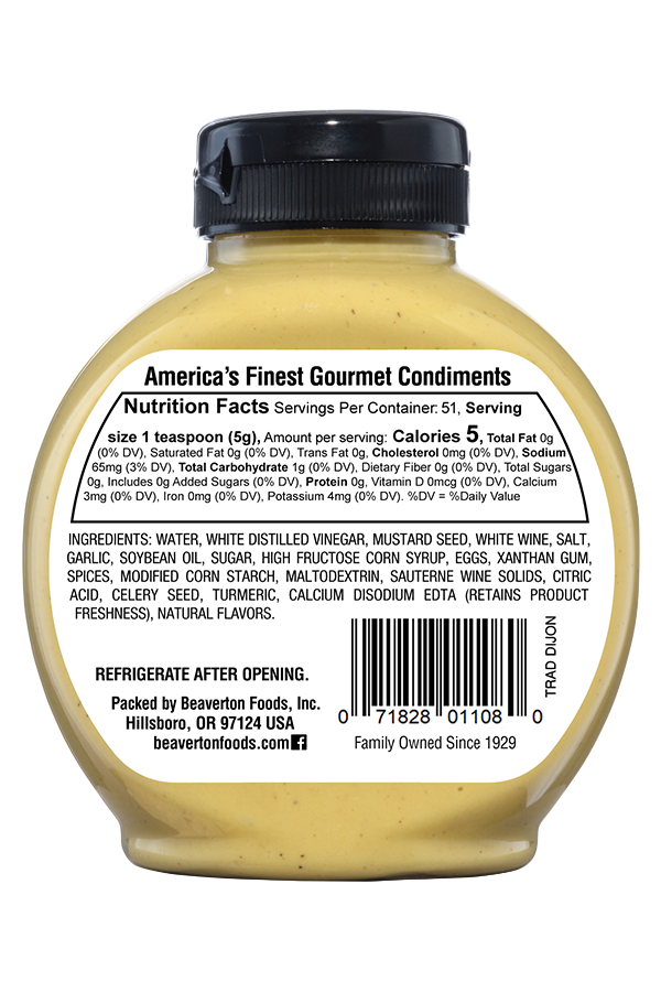 Inglehoffer Traditional Dijon Mustard back 9oz