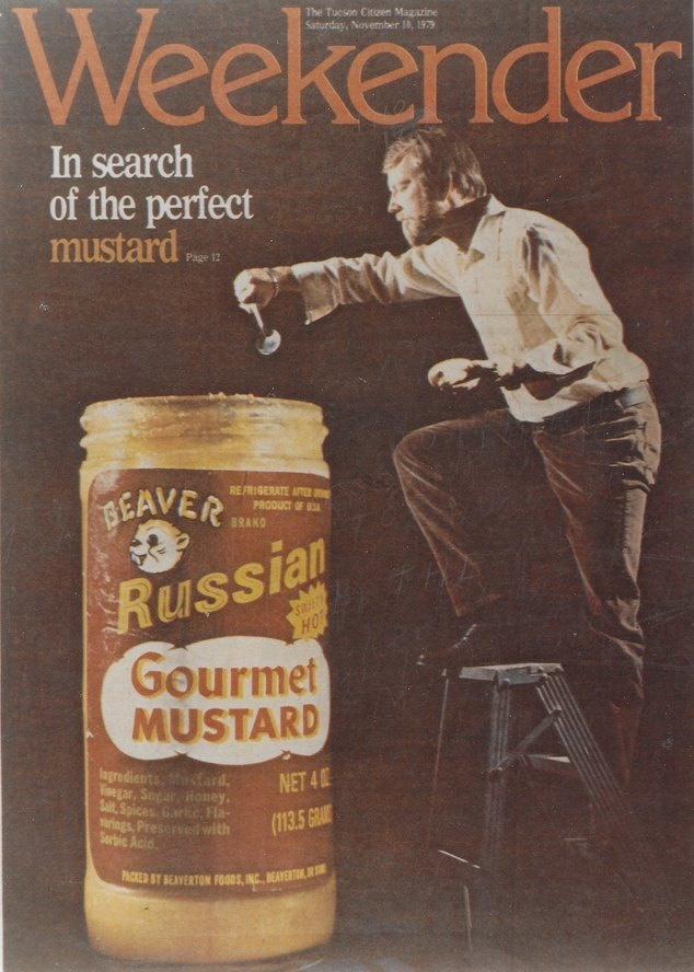 Cover of Weekender magazine displaying Beaver Russian Sweet Hot Gourmet Mustard