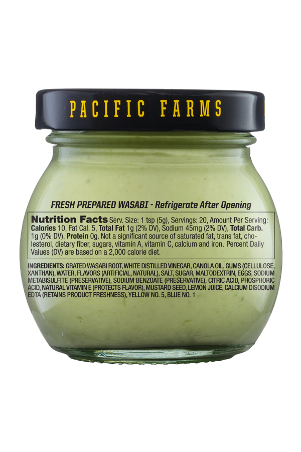 Pacific Farms Authentic Fresh Prepared Wasabi back 6oz