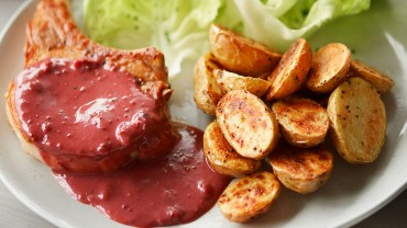 Pork chops with Beaver Brand Cranberry Mustard sauce