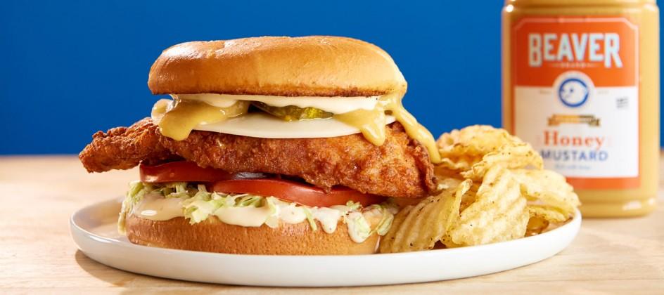 Fried chicken sandwich with Beaver Brand Honey Mustard