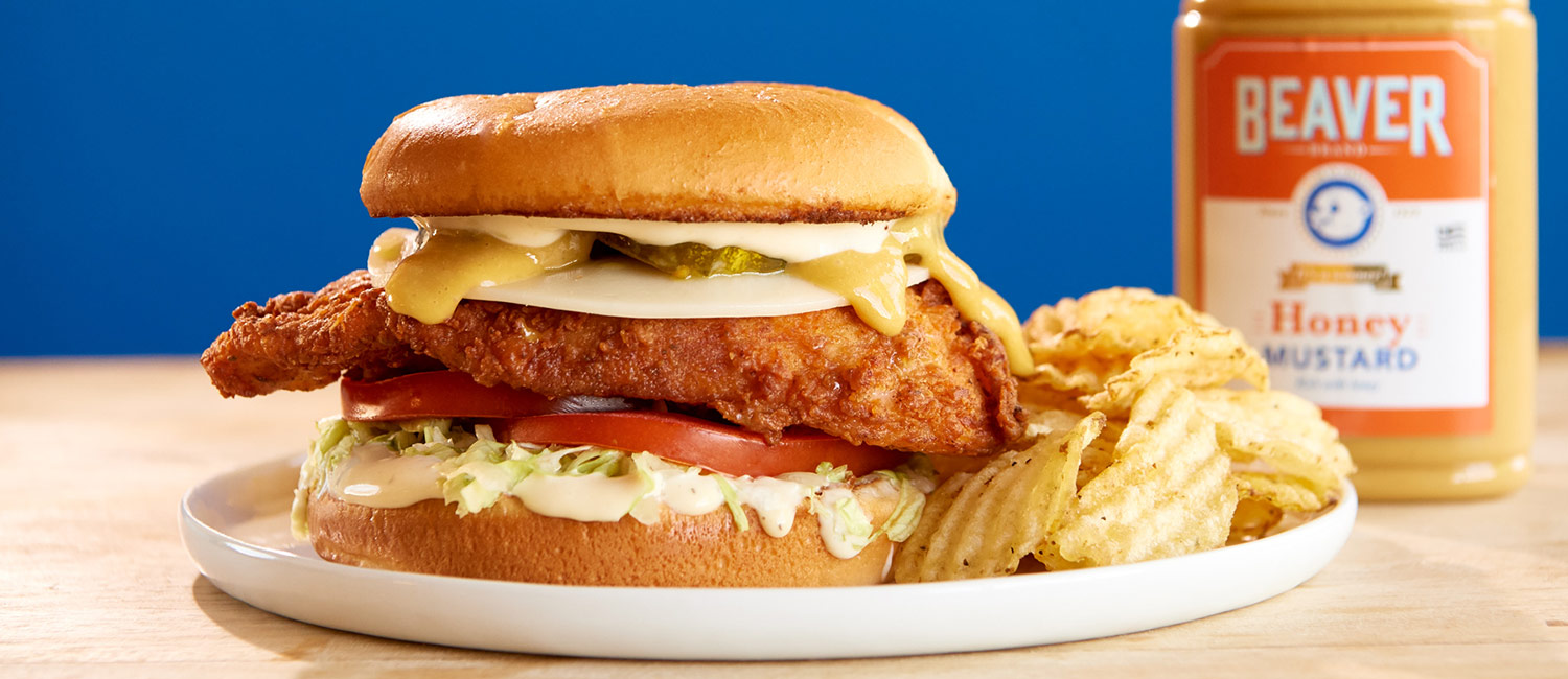Beaver Brand Honey Mustard Fried Chicken Sandwich