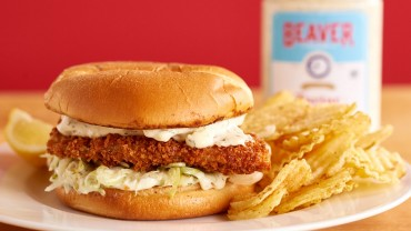 Fish and chips sandwich with Beaver Brand Tartar Sauce