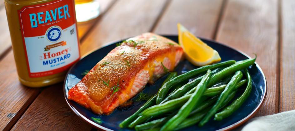 Salmon with Beaver Brand Honey Mustard glaze