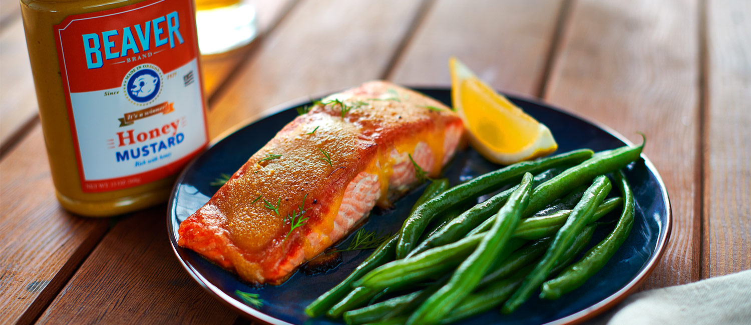 Salmon with Beaver Brand Honey Mustard Glaze