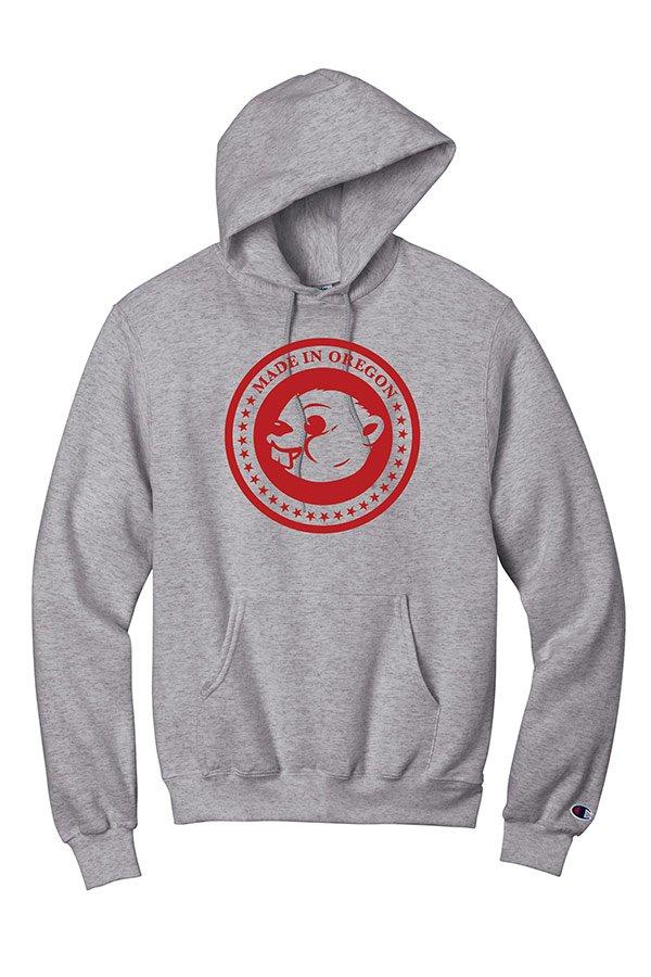 Grey hoodie with Beaver Brand logo
