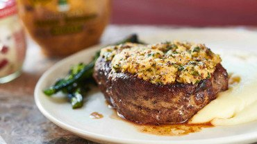 Steak with parmesan crust and potato puree
